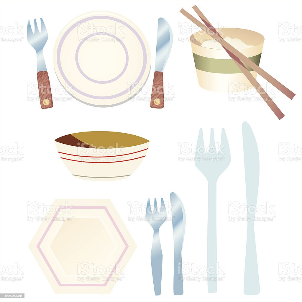 Knife +Fork+ Plate + Bowl royalty-free knife fork plate bowl stock vector art & more images of arts culture and entertainment