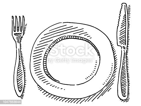 Hand-drawn vector drawing of a Knife, a Fork and a Plate. Black-and-White sketch on a transparent background (.eps-file). Included files are EPS (v10) and Hi-Res JPG.