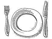 Knife Fork Plate Drawing
