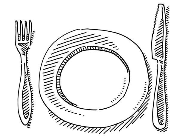 Knife Fork Plate Drawing vector art illustration