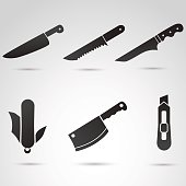 Knife icon collection isolated on white background.