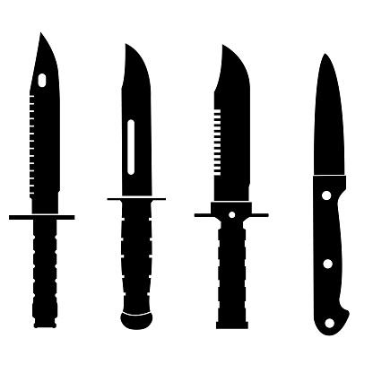Knife icon, silhouette on white background