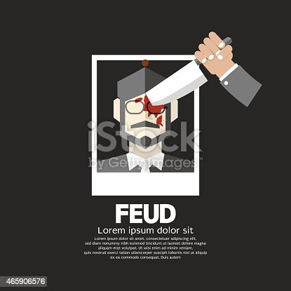 Knife Plunge Down On The Photo Feud Concept Vector Illustration