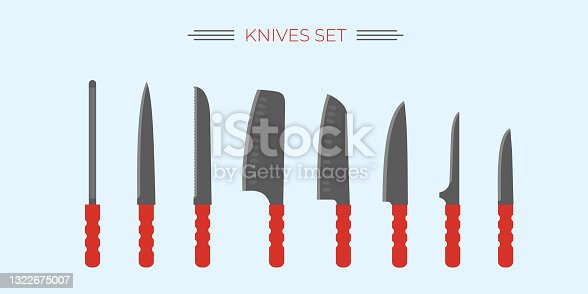 istock Knife set for kitchen and outdoor cooking. Popular knives for cutting and cook. 1322675007