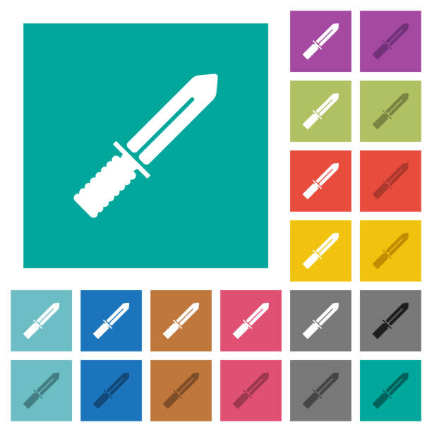 quadrat flach messer multi farbige symbole - winkelküche stock-grafiken, -clipart, -cartoons und -symbole