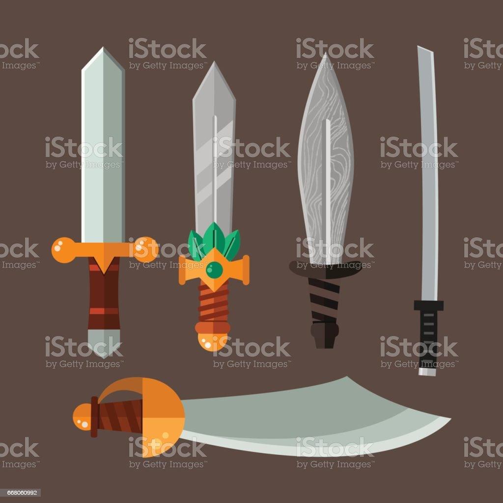 Knife weapon dangerous metallic vector illustration of sword spear edged set vector art illustration
