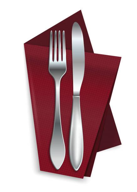 stockillustraties, clipart, cartoons en iconen met mes met vork op een rode servet - servet