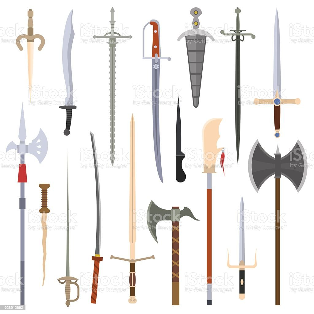 Knifes iron weapon collection. vector art illustration