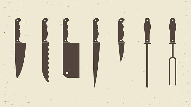 knifes set or kitchen knives icons. vector illustration - küchenmesser stock-grafiken, -clipart, -cartoons und -symbole