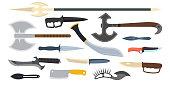 Knifes weapon vector illustration.