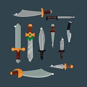 Knifes weapon vector illustration.