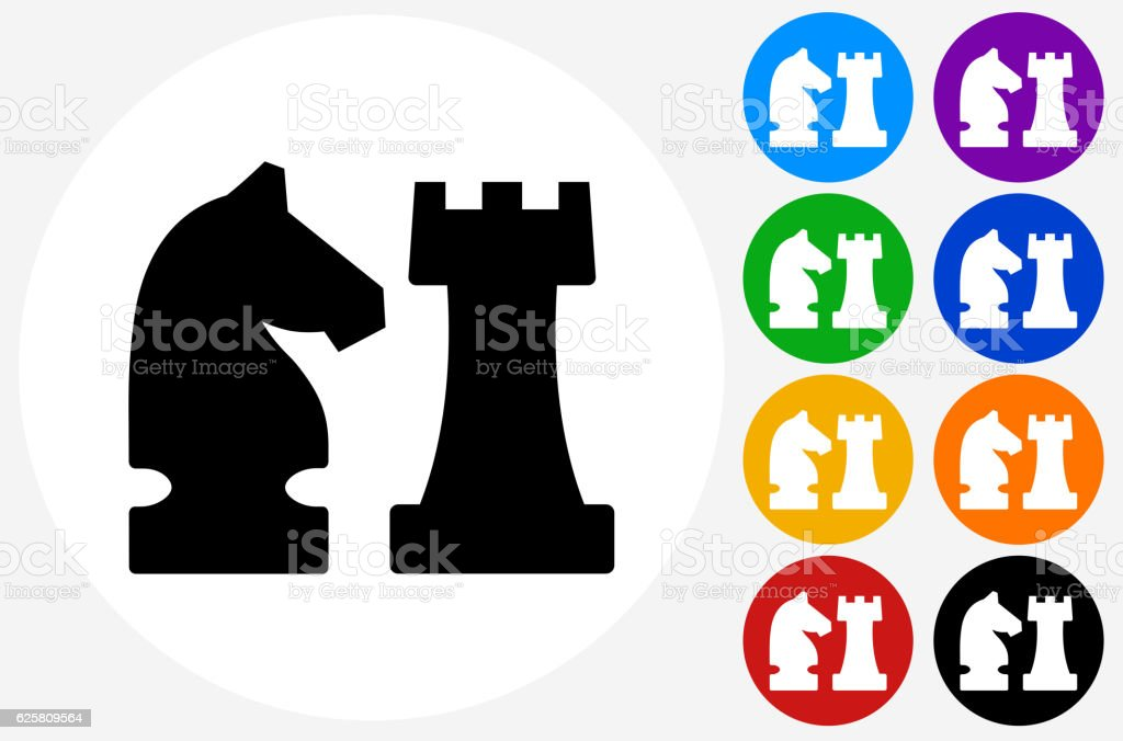 Knight and Castle Icon on Flat Color Circle Buttons vector art illustration
