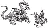 """Knight and Dragon. Pen and ink style illustration of a Medieval knight and dragon. Ghost art back as design element or color it. Check out my """"Medieval Vector Knights & Dragons"""" light box for more."""