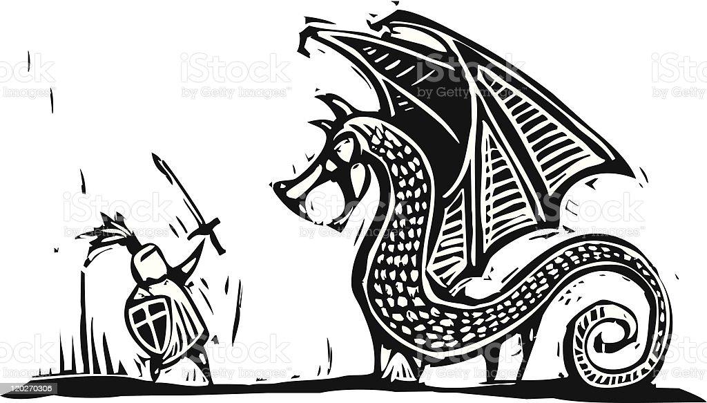 Ilustración de Knight Y Dragón y más banco de imágenes de Armadura ...