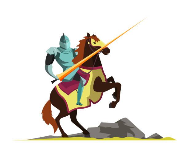 bildbanksillustrationer, clip art samt tecknat material och ikoner med knight attackerar på häst ryggen vektor illustration - häst tävling
