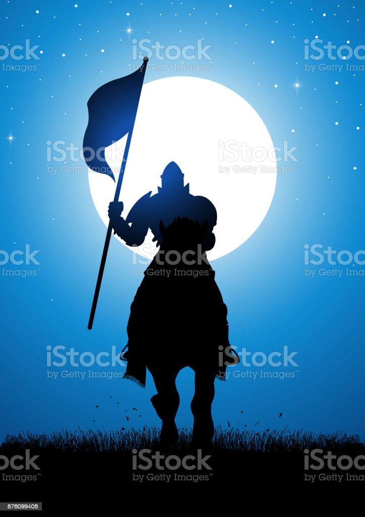 Knight bearing a flag