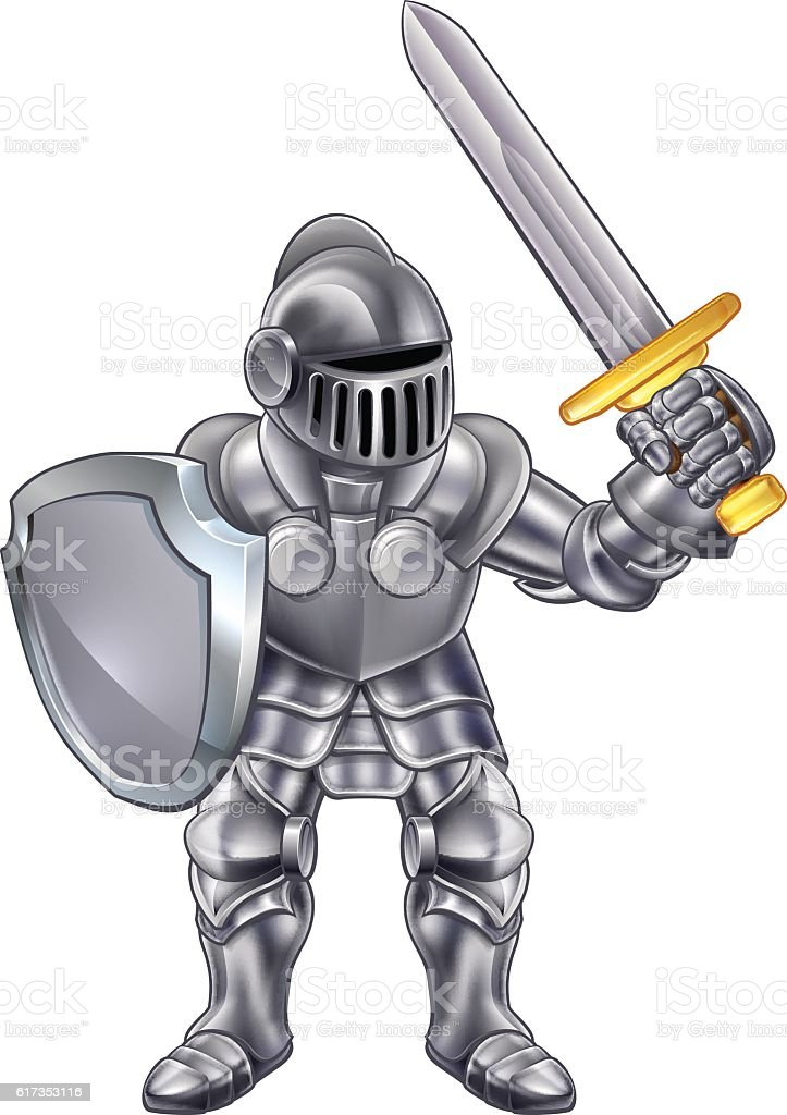 Knight Cartoon Mascot vector art illustration