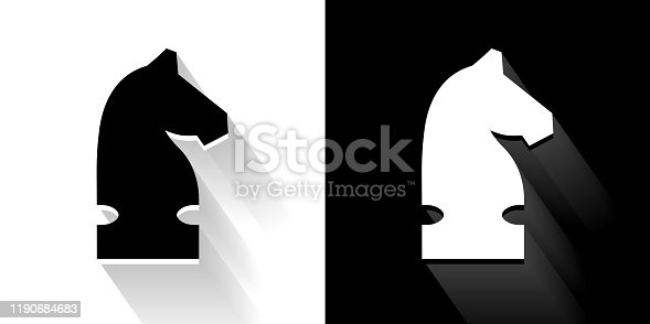 Knight Chess  Black and White Icon with Long Shadow. This 100% royalty free vector illustration is featuring the square button and the main icon is depicted in black and in white with a black icon on it. It also has a long shadow to give the icons more depth.