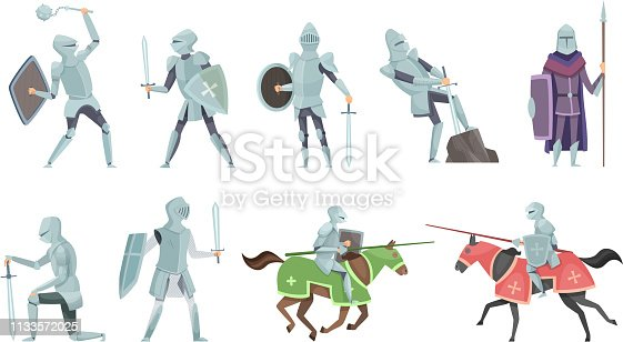 istock Knight. Chivalry prince medieval fighters brutal warriors on horse battle vector cartoon illustrations 1133572025