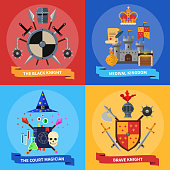 Medieval kingdom armored knights warriors and court magician 4 flat icons square banner abstract isolated vector illustration