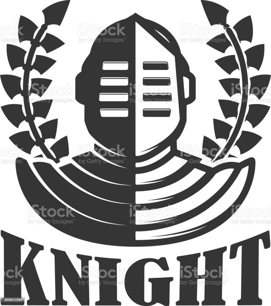 knight emblem template with medieval knight helmet design element