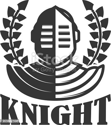 Knight Emblem Template With Medieval Knight Helmet Design Element ...