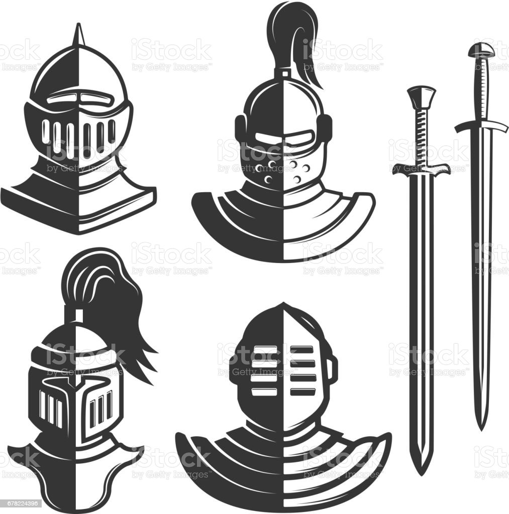 Knight emblems template with swords isolated on white background. Design element for  label, emblem, sign, brand mark. Vector illustration.
