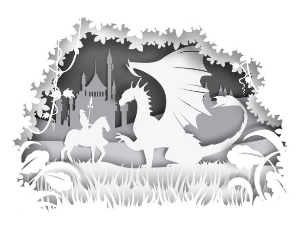 Knight fighting dragon, vector illustration in paper art style Vector layered paper cut craft style fairytale composition of medieval knight fighting huge dragon silhouettes. chess knight silhouette stock illustrations