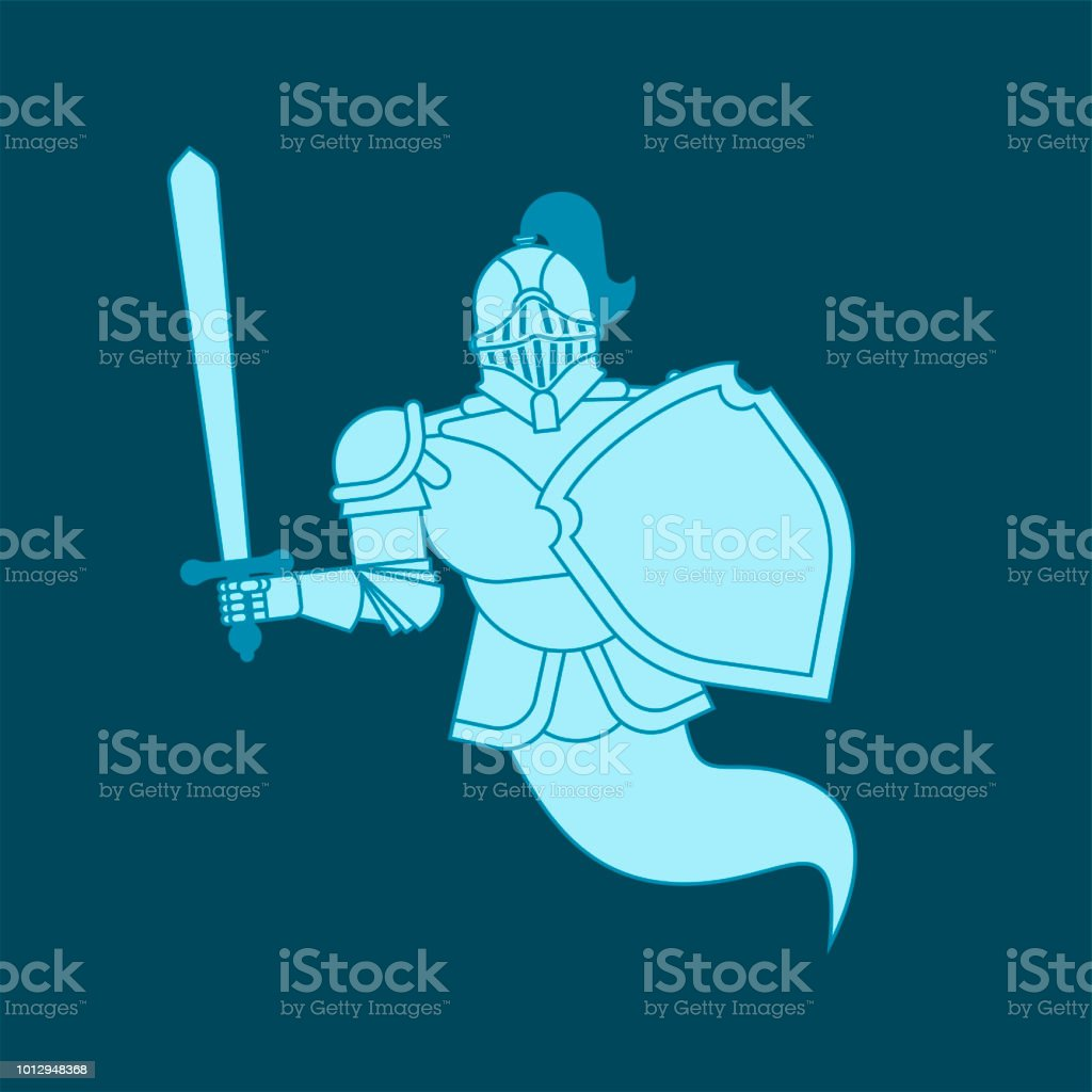 Knight Ghost Isolated Metal Armor Warrior Iron Armor Vector