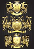 Set of vector illustration gold coats of arms with shields and crowns the top and bottom banner and side with knights on horses in armor holding flags.Centaur with bows and arrows in top heraldry.Background on black pattern.File contain EPS8 and JPEG files