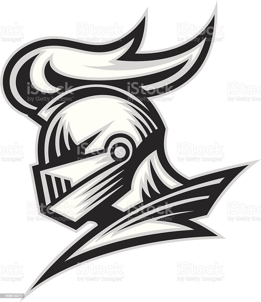 Knight Head B&W vector art illustration