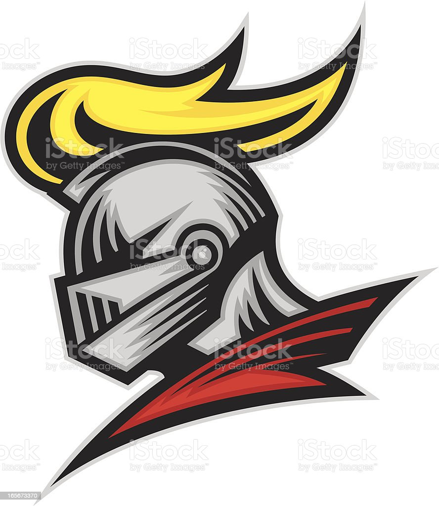 Knight Head This is a simple easy to print and identify at a distance. All secondary color levels are removable down to a simple flat color image. A BLACK & WHITE version is also available for download. The file is provided as an Illustrator 8 EPS and a 300dpi high-rez jpg. Cartoon stock vector