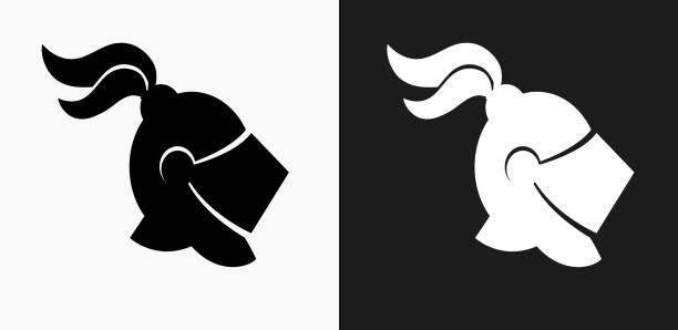 knight helmet icon on black and white vector backgrounds - knight in shining armor stock illustrations