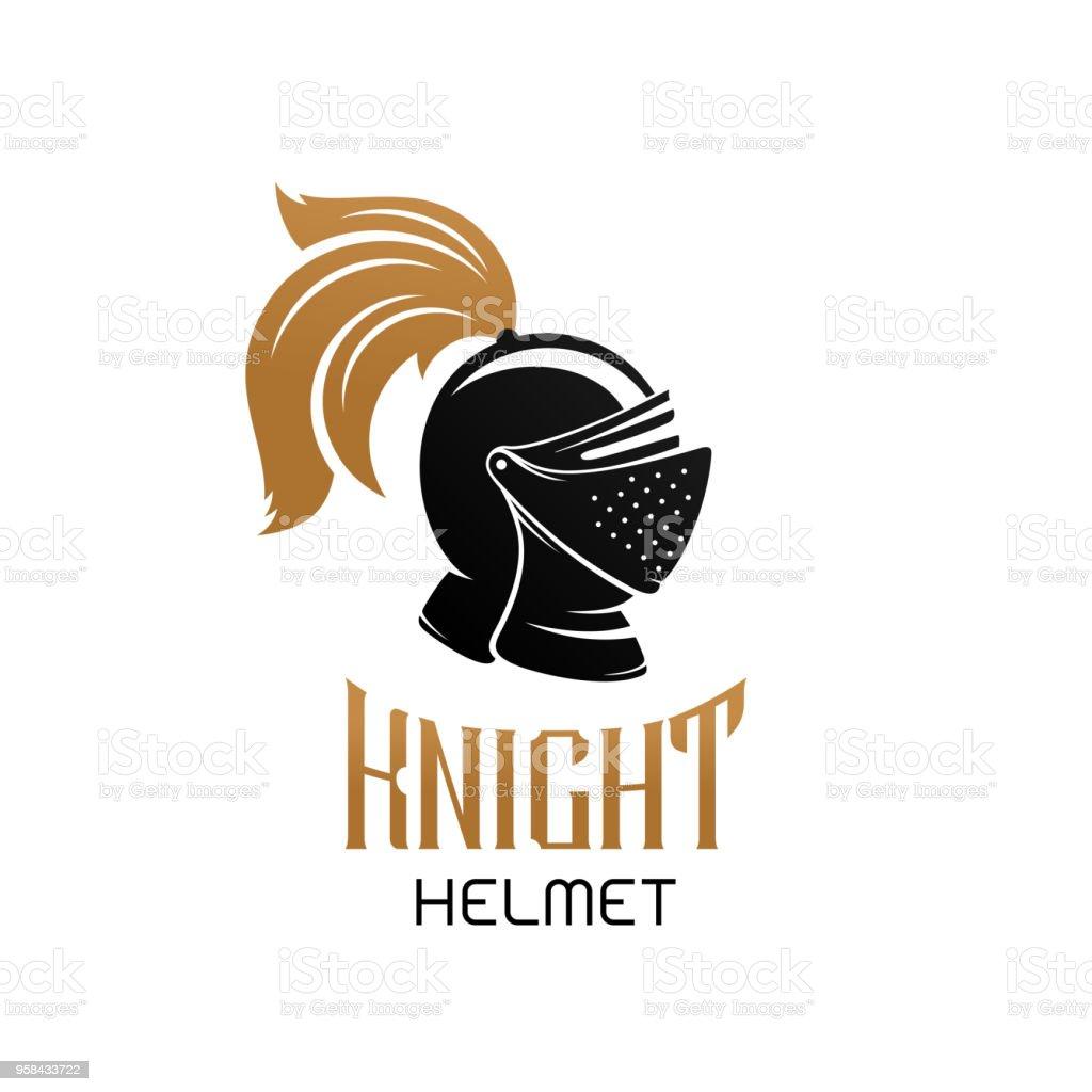 Knight helmet sign template. Vector emblem.