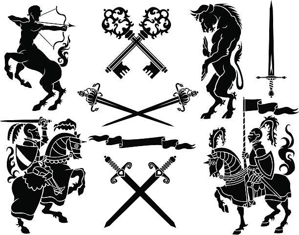 Knight heraldry set – Vektorgrafik