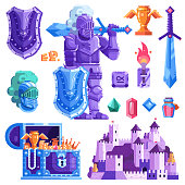 Warrior knight equipment for heroic mobile RPG game in flat design. Fantasy knights and dragons fairy tale icon set including hero sword, armor, helmet, treasures, castle and other gaming elements.