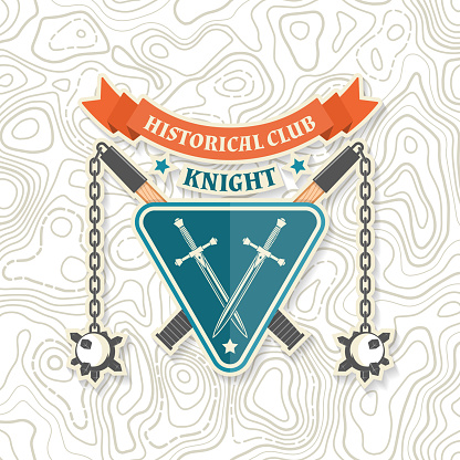 Knight historical club badge design. Vector illustration Concept for shirt, print, stamp, overlay or template. Vintage typography design with flail and knight shield silhouette.