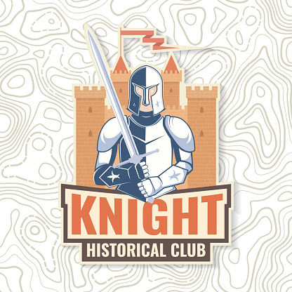Knight historical club badge design. Vector illustration Concept for shirt, print, stamp, overlay or template. Vintage typography design with knight with sword and castle silhouette.