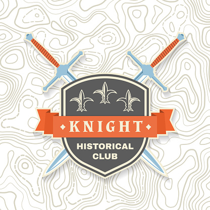 Knight historical club badge design. Vector illustration Concept for shirt, print, stamp, overlay or template. Vintage typography design with knight swords and shield silhouette.