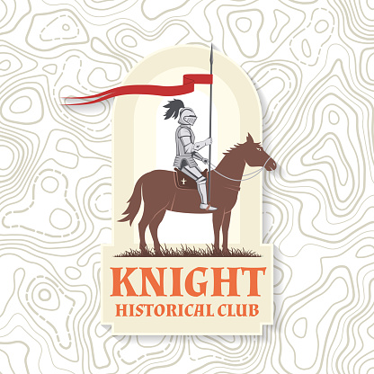 Knight historical club badge design. Vector illustration Concept for shirt, print, stamp, overlay or template. Vintage typography design with knight on a horse silhouette.