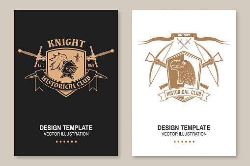 Knight historical club flyer, brochure, banner, poster Vector. Concept for shirt, print, stamp, overlay or template. Vintage design with knight helmet , crossbows , eagle and shield silhouette.