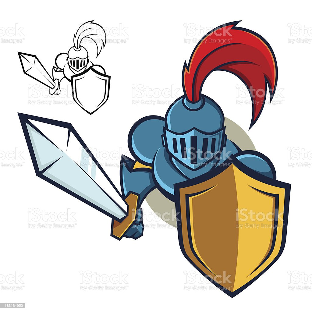 Knight Holding Shield And Sword Mascot