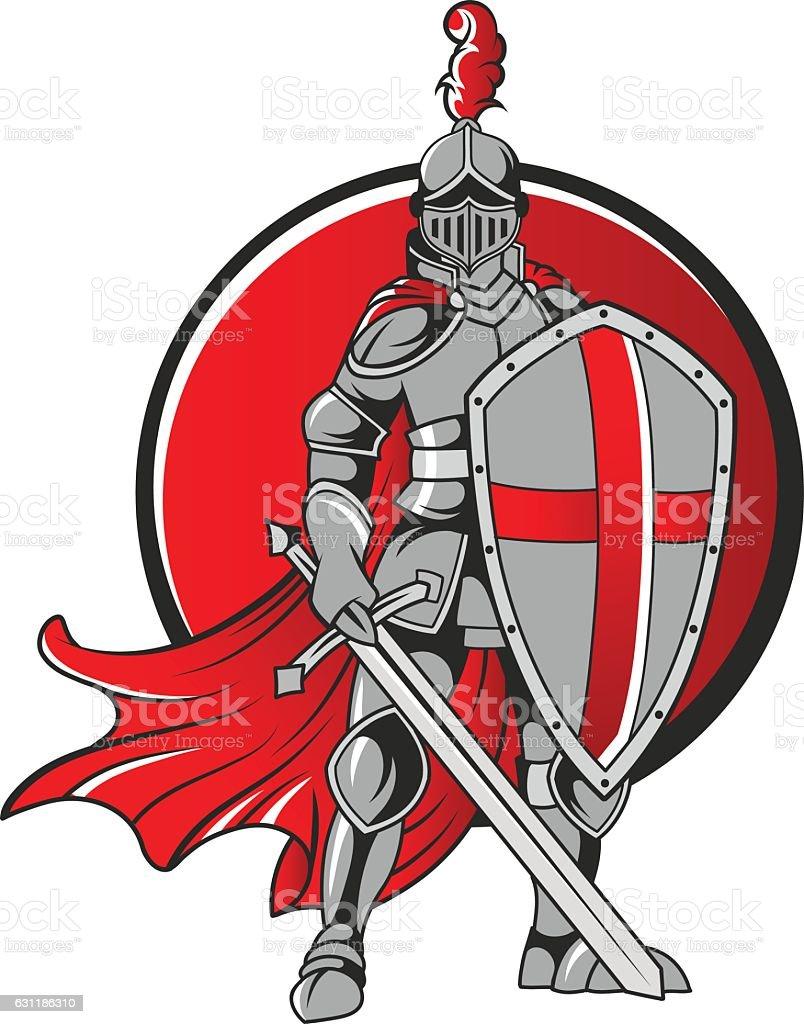 knight holding sword vector art illustration