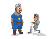 Knight in Armor Stand on Knee Oath Giving to King