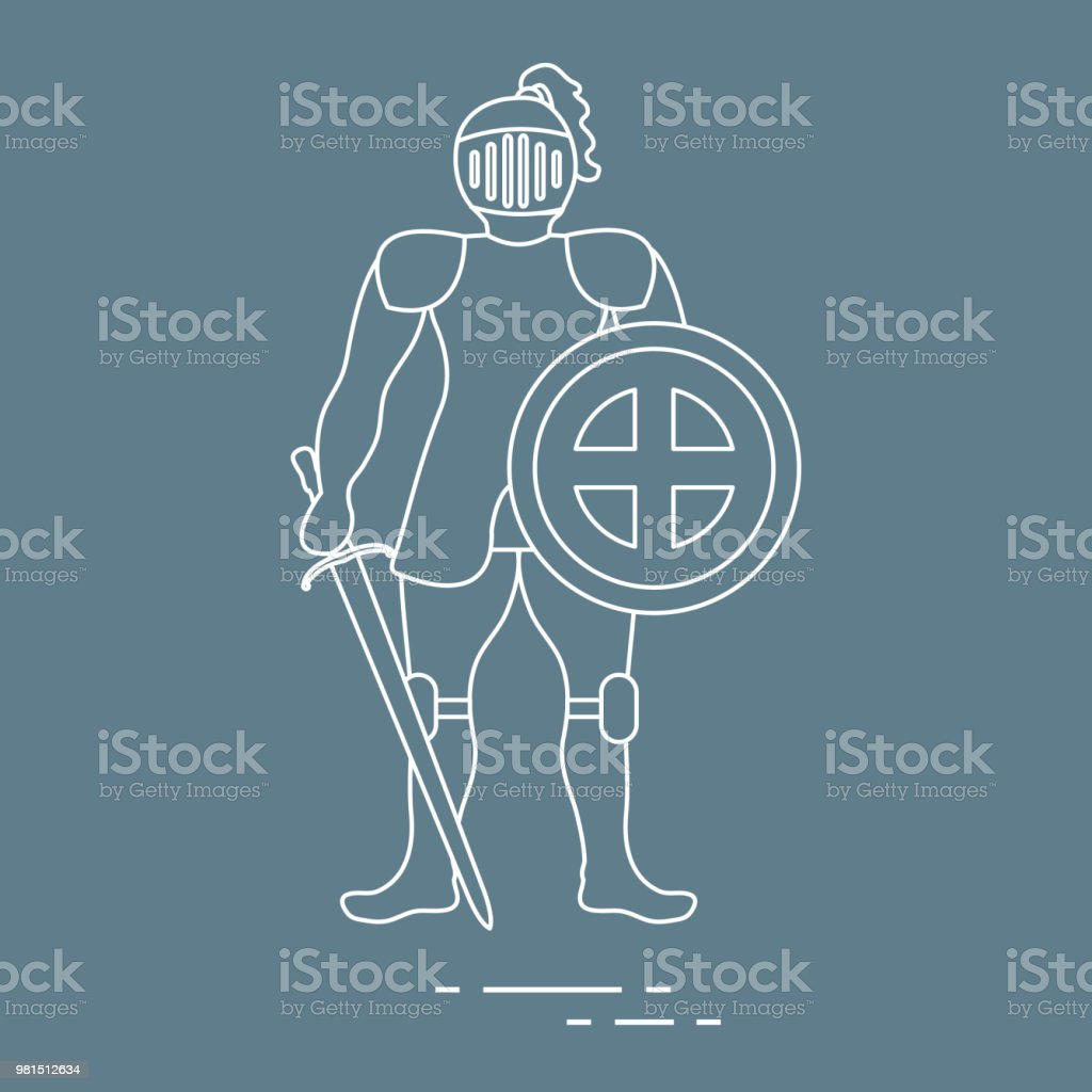 Knight In Armor With Shield And Sword Stock Vector Art & More Images ...