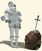 knight in armour looking at sword in stone vector cartoon