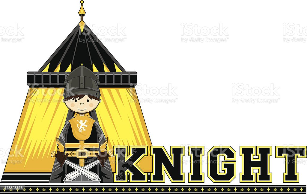 Knight Learn to Read Illustration royalty-free stock vector art
