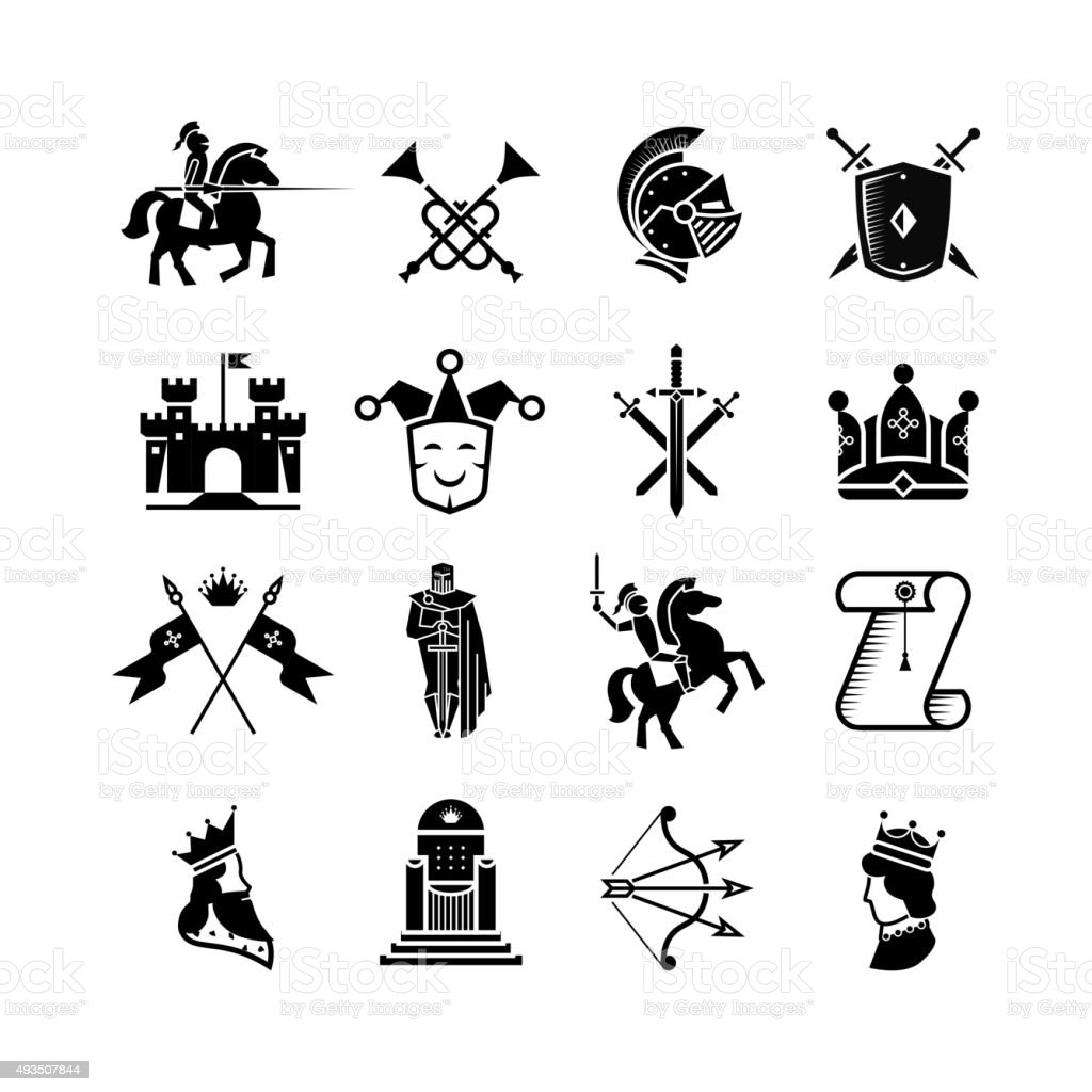 Knight medieval history vector icons set. Middle ages warrior weapons vector art illustration