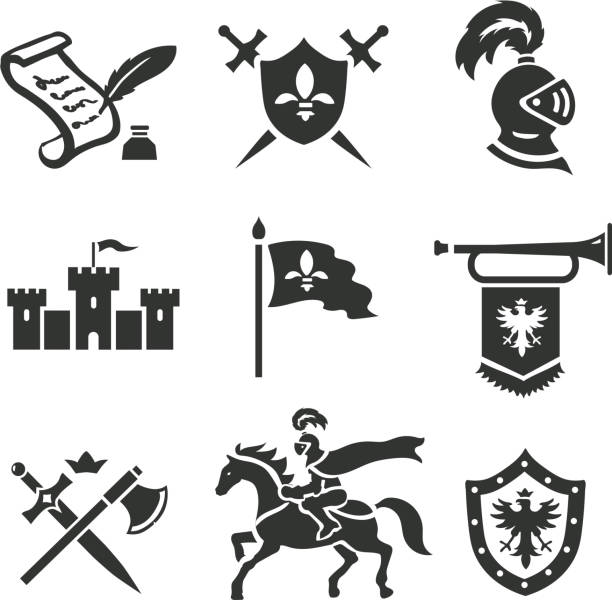 knight medieval history vector icons set. middle ages warrior weapons. - knight in shining armor stock illustrations, clip art, cartoons, & icons
