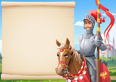 Knight On A Horse In Front of Parchment